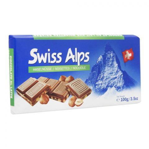 Swiss Alps Milk Chocolate Bar With Broken Hazelnut, 100g
