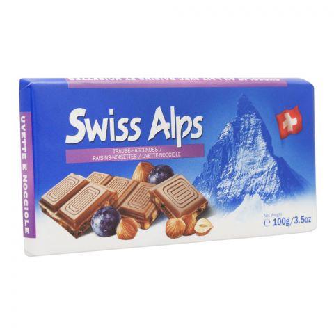 Swiss Alps Milk Chocolate Bar With Raisins And Hazelnut, 100g