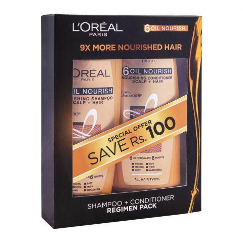 L'Oreal Paris 6 Oil Nourish Shampoo + Conditioner Regime Pack