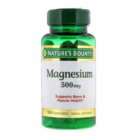 Nature's Bounty Magnesium, 500mg, 100 Coated Tablets, Mineral Supplement