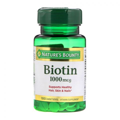 Nature's Bounty Biotin, 1000mcg, 100 Coated Tablets, Vitamin Supplement