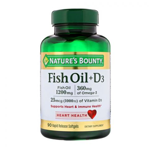 Nature's Bounty Fish Oil + D3, 1200mg + 1000IU, 90 Softgels, Dietary Supplement