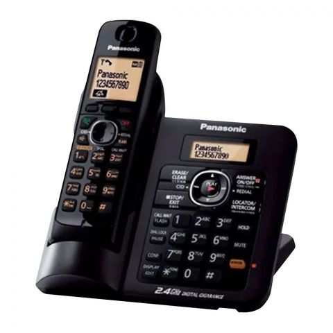 Panasonic 2.4GHz Digital Cordless Phone, Black, KX-TG3811BX