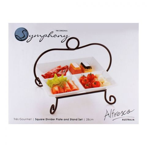Symphony Square Divider Plate And Stand 28cm ES-3854