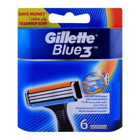 Gillette Blue 3 Cartridges, Razor Blades, 6-Pack