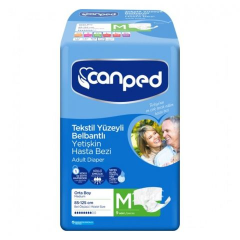 Canped Adult Diaper, Medium, 85-125cm, 9-Pack