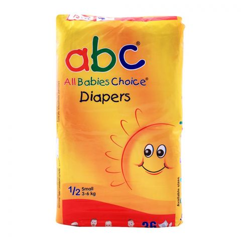 ABC Baby Diapers, No. 1/2, Small, 3-6 KG, 36-Pack