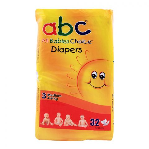 ABC Baby Diapers, No. 3, Medium, 4-9 KG, 32-Pack