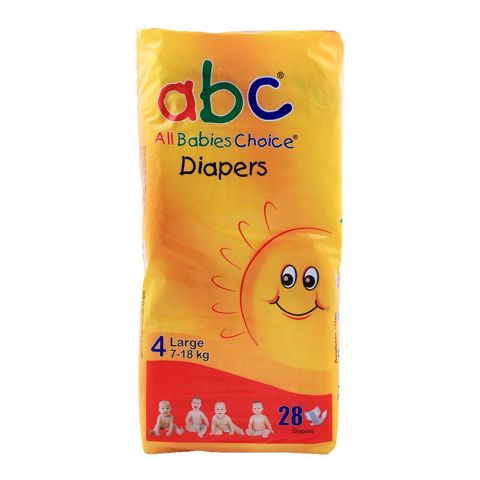 ABC Baby Diapers, No. 4, Large, 7-18 KG, 28-Pack