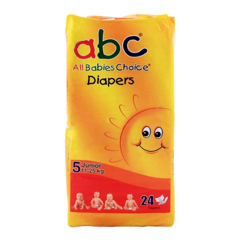 ABC Baby Diapers, No. 5, Junior, 11-25 KG, 24-Pack
