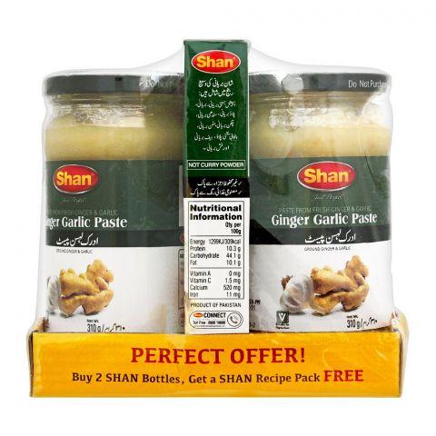 Shan Ginger Garlic Paste 2 Bottle 310g + Free Bombay Biryani 60g
