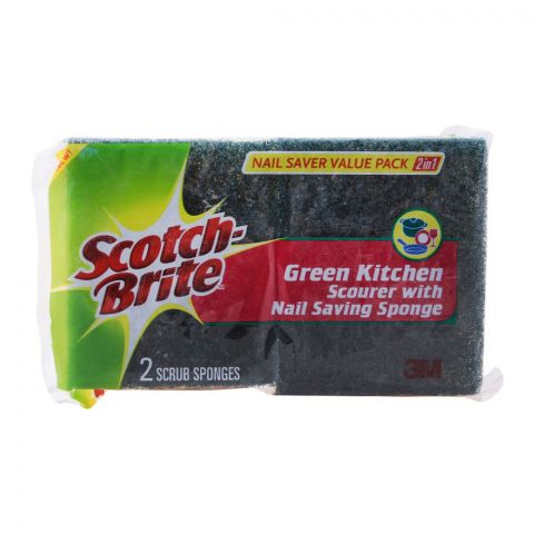 Scotch Brite 2-In-1 Green Kitchen Scourer With Nail Saving Sponge, Value Pack, 2 Pieces