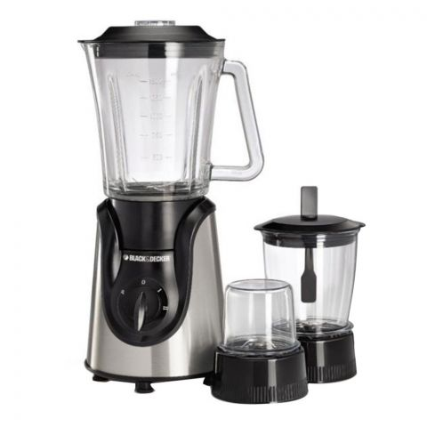 Black & Decker Glass Blender with Grinder and Mincer Chopper, 650 Watts, BX600G