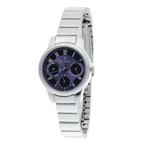 Titan Analog Purple Round Dial Stainless Steel Strap Watch For Women, 2481SM01