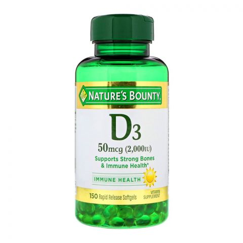 Nature's Bounty D3 2000IU, 150 Softgels, Vitamin Supplement