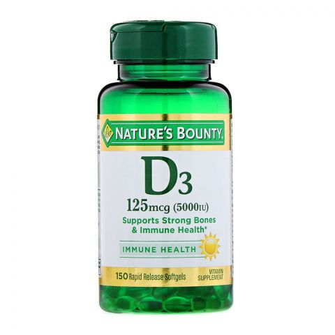 Nature's Bounty D3 5000IU, 150 Softgels, Vitamin Supplement