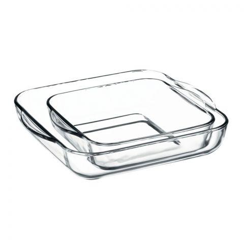 Borcam Ovenware Square Try, 2 Pieces, 8x10 Inches + 11.5x12.5 Inches, 159028