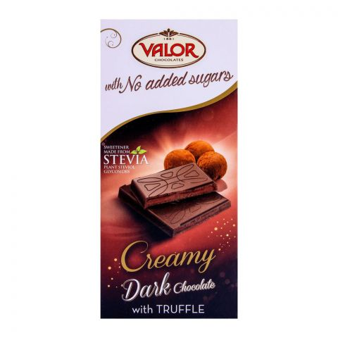 Valor Creamy Dark Chocolate With Truffle, No Added Sugar, 100g