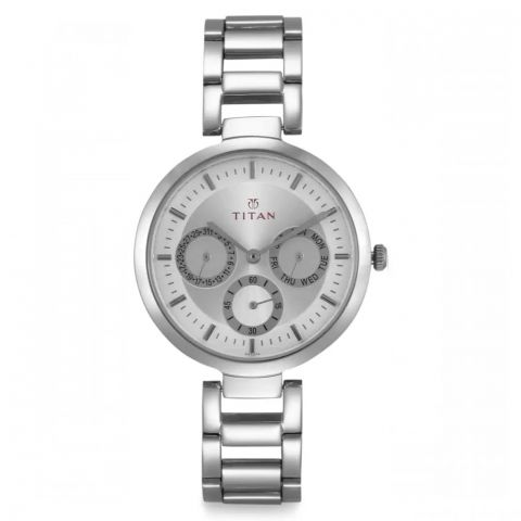 Titan Contemporary Chronograph Silver Dial Stainless Steel Strap Analog Watch For Women, 2480SM03