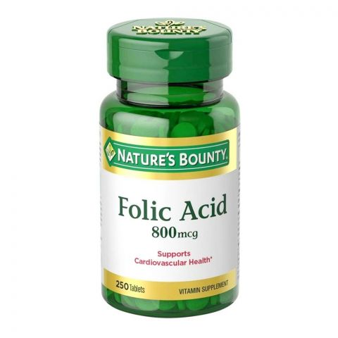 Nature's Bounty Folic Acid 800mcg, 250 Tablets