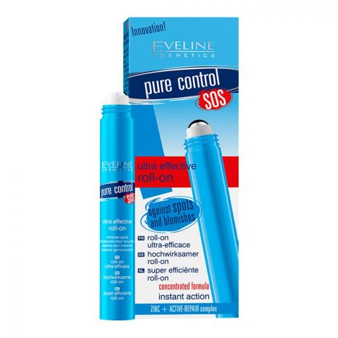 Eveline Pure Control SOS Ultra-Effective Roll-On, Against Spots & Blemishes, 15ml