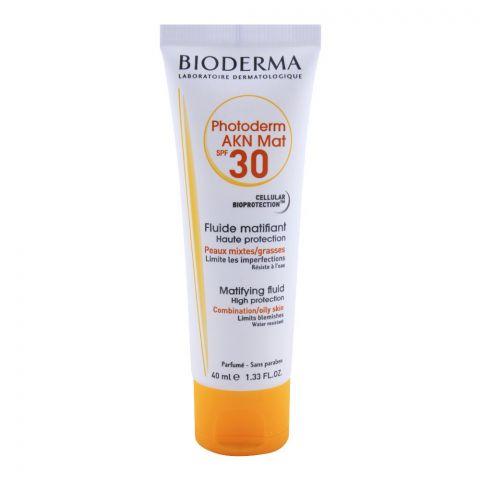 Bioderma Photoderm AKN Mat SPF 30 Mattifying Fluid, Combination & Oily Skin, 40ml