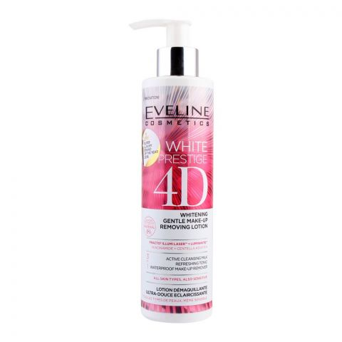 Eveline 48H White Prestige 4D 3-In-1 Whitening Gentle Make-Up Removing Lotion, All Skin Types, 245ml