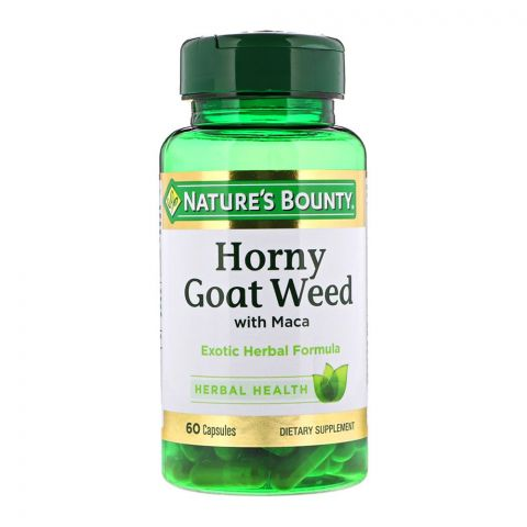 Nature's Bounty Horny Goat Weed With Maca, 60 Capsules, Dietary Supplement