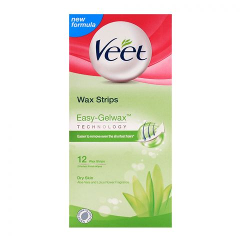 Veet Easy-Gelwax Aloe Vera And Lotus Flower Dry Skin Wax Strips 12-Pack