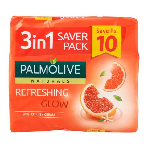 Palmolive Naturals Refreshing Glow Soap, 5-In-One Pack, 3x110g