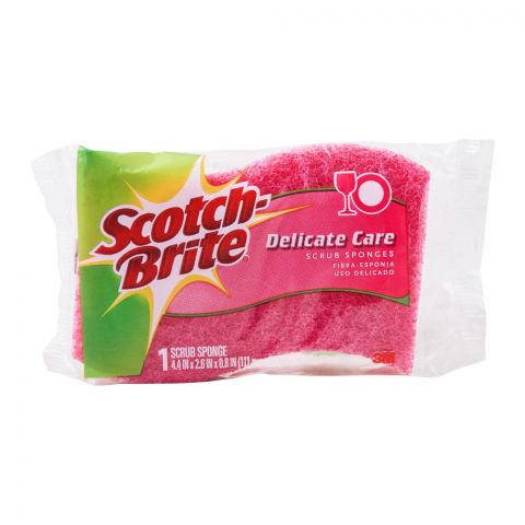 Scotch Brite Delicate Care Scrub Sponge, 4.4x2.6x0.8 Inches, 1 Piece