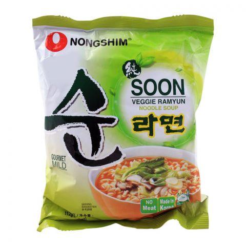 Nongshim Soon Veggie Ramyun Noodle Soup, Gourmet Mild, 112g