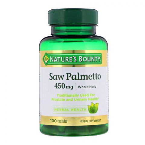 Nature's Bounty Saw Palmetto, 450mg, 100 Capsules, Herbal Supplement