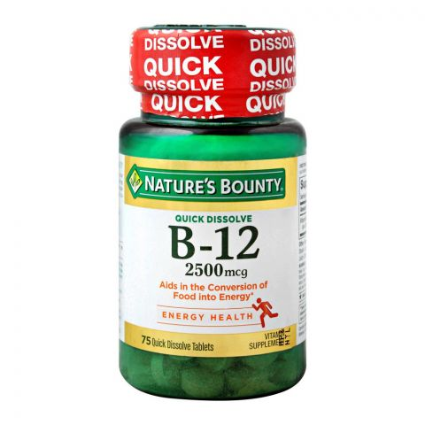 Nature's Bounty B-12, 2500mg, 72 Tablets, Vitamin Supplement