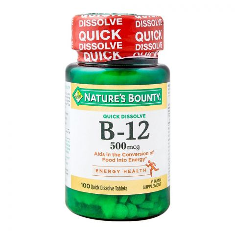 Nature's Bounty B-12, 500mg, 100 Tablets, Vitamin Supplement