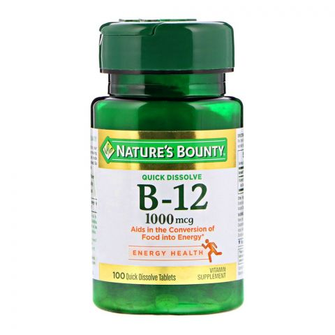 Nature's Bounty B-12, 1000mg, 100 Tablets, Vitamin Supplement