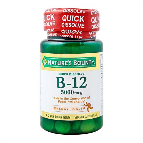 Nature's Bounty B-12, 5000mg, 40 Tablets, Vitamin Supplement