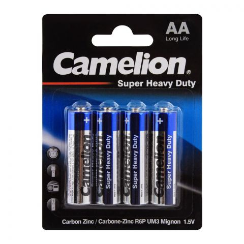Camelion Super Heavy Duty AA Batteries, 4-Pack, R6P-BP4B