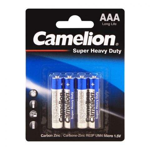 Camelion Super Heavy Duty Long Life AAA Battery, 4-Pack, R03P-BP4B