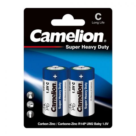 Camelion Super Heavy Duty Long Life C Battery, 2-Pack, R14P-BP2B