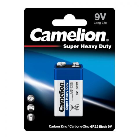 Camelion Super Heavy Duty Long Life 9V Battery, Single Pack, 6F22-BP1B