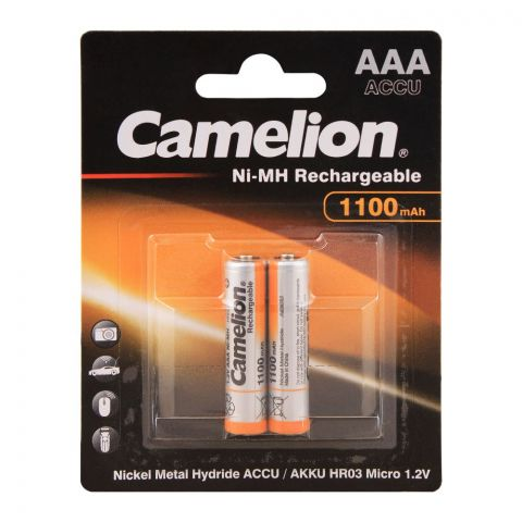 Camelion AAA 1100mAh Ni-MH Rechargeable Battery, 2-Pack, NH-AAA1100BP2