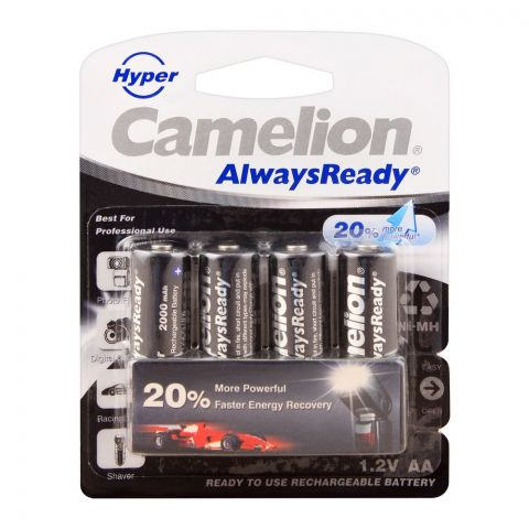 Camelion AlwaysReady NiMH AA 2000mAH Rechargeable Battery, 4-Pack, NH-AA2000HPPB4