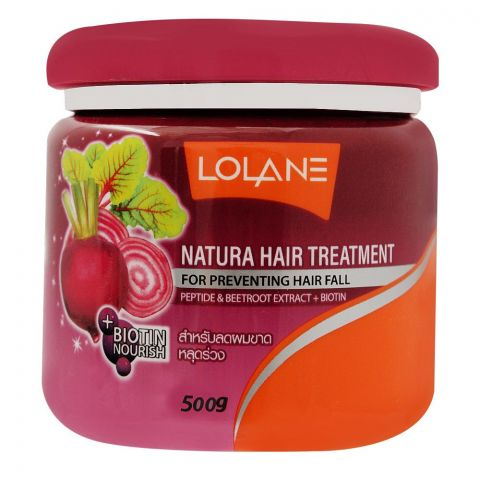 Lolane Natura Hair Treatment, For Preventing Hair Fall, With Peptide & Beetroot Extract + Biotin, 500g