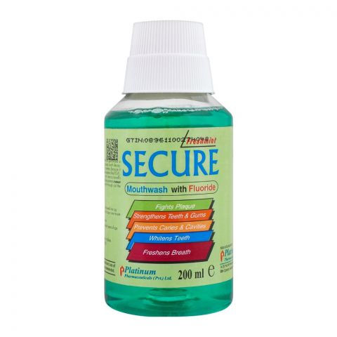 Secure Mouthwash, With Fluoride, 200ml