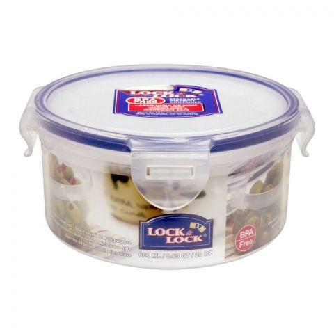 Lock & Lock Air Tight Round Short Food Container, 600ml, LLHPL933