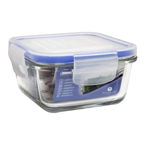 Borgonovo Igloo Super Block Glass Storage Jar With Lid, Square, 4.3x4.3x2 Inches, 11