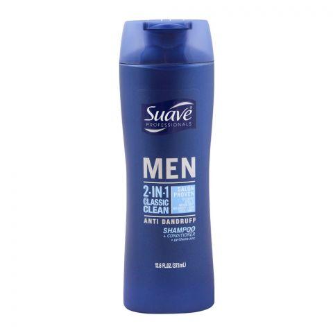 Suave Professionals Men 2-In-1 Classic Clean Anti-Dandruff Shampoo + Conditioner, 373ml