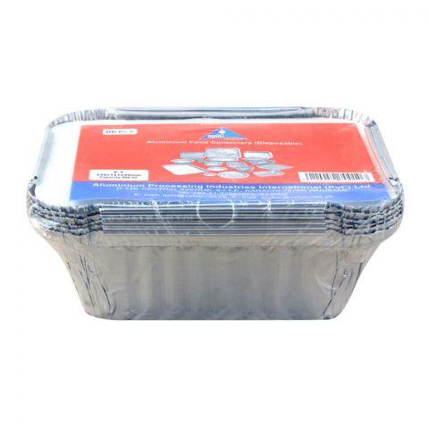 Apiil Aluminium Food Container, 149x121x49mm, 400ml, F-1, 6-Pack