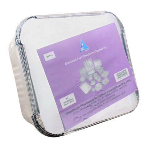 Apiil Aluminium Food Container, 250x190x60mm, 400ml, F-5, 6-Pack